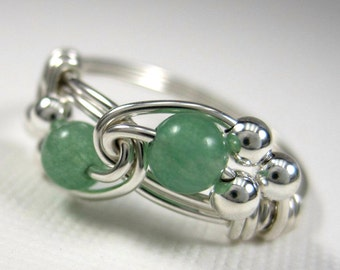 Wire Wrapped Ring Green Aventurine and Sterling Silver Duet