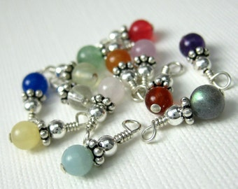 Add A Dangle Charm Sterling Silver Wire Wrapped Semiprecious Stone Dangle Charms 4mm -- One Dangle Beaded Charm