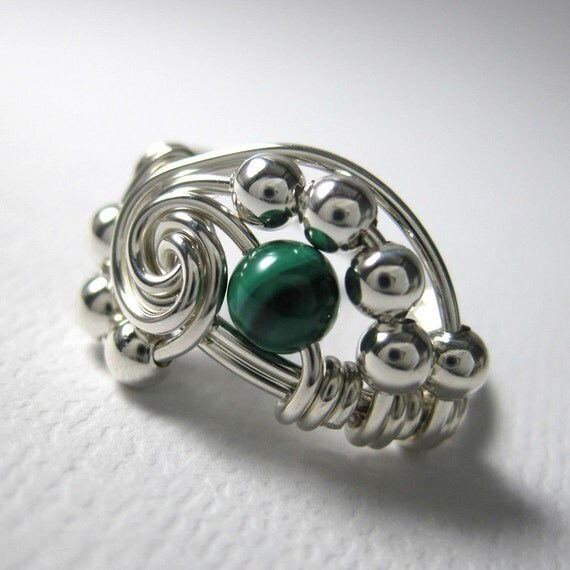 Math Jewelry Wire Wrapped Pi Ring Malachite And Sterling