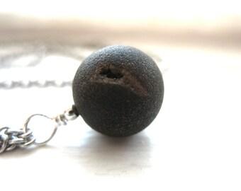 Druzy Agate Necklace, Druzy Agate Gemstone Pendant Statement Strand Chain Necklace, Handmade Artisan Agate Jewelry, Gemstone Jewlery