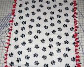 Paw Prints Fleece Blanket Dog Pet Baby Lap Hand Tied