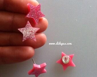 PASTEL PINK GLITTER stud star earrings