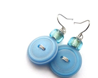Light Ice Blue Funky Vintage Button Earrings