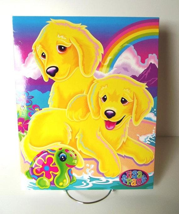 Lisa Frank Portfolio Folder Casey The Golden Retriever And