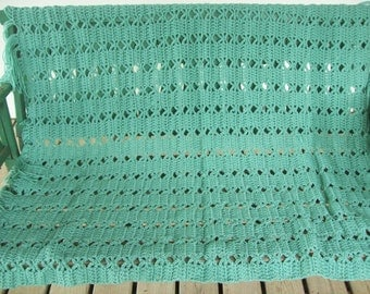 Sea Green, Fringed, Afghan,Gift,Cover,Decor,House Warming,Home,Adults,Seniors,Blanket