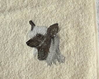 Chinese Crested Dog Embroidered Hand Towel