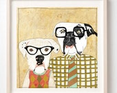 Art Print on Paper, Dorks, Dogs, Nerds, Illustration, Dog poster, Dog lover gift, Humor, Fun wall decor, Nerd gift