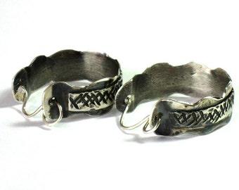 Rustic Silver Earrings,Rustic Silver Hoops,Hammered Hoops,Artisan Hoop Earrings,Sterling Hoops,hammered Silver Hoops,Textured Silver Hoops
