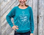 Womens Shirt - Anchor - Scoop Neck Long Sleeve - Pullover -Lake Champlain - Nautical