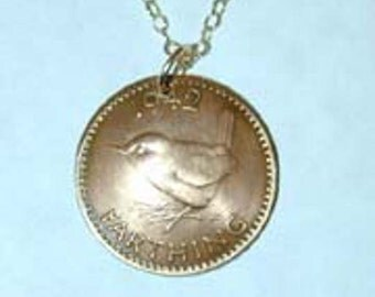 Coin necklace~British farthing necklace-free shipping