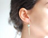 Tribal Vintage Mint Bead Spear Earrings