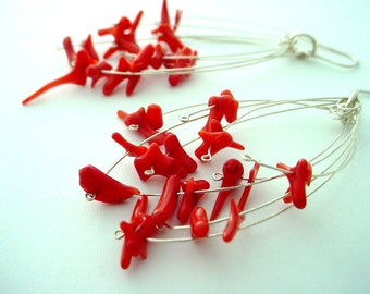Red Coral Fireworks Earrings