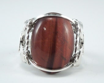 Handcrafted Sterling Silver Wire Red Tiger Eye