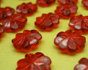 100 Vintage Swirled Red Lucite Beads