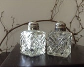 SALT AND PEPPER...six ( 6 ) vintage glass shakers, cut glass,cube,table setting,formal wedding, condiments,spices