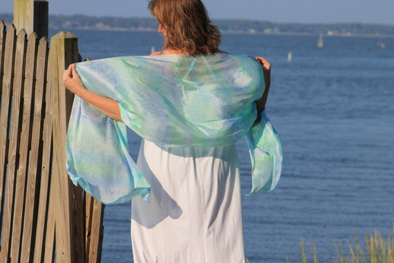 Serenity ... hand painted silk wrap, shawl