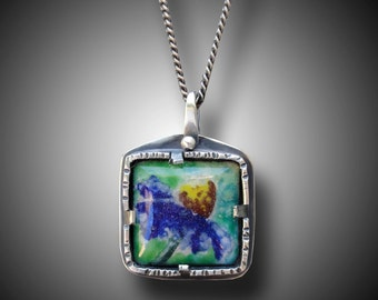 Painted Enamel  Pendant Sterling Silver Necklace with Enameled Centerpiece