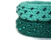 Wide Hand Knit Dew Drop Bangle in Mint Green & Midnight Blue - Medium