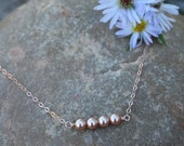 Dainty Rose Gold Pearl Necklace, Tiny, Swarovski Pearls and 14k Rose Gold Filled Chain, Christmas Gift for Her