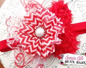Boutique RED CHEVRON Glamour Bloom Hair Flower clip marabou glitter tulle headband