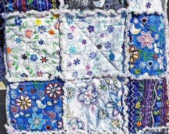 Twin Size Rag Quilt, Blue and White, Girl's Bedroom, Bedroom, Floral Quilt, Girl's Twin Quilt, Handmade