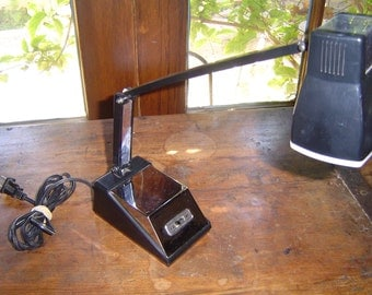 Mid Century Industrial Black and Chrome Mini Adjustable Neck Desk Light Task Lamp