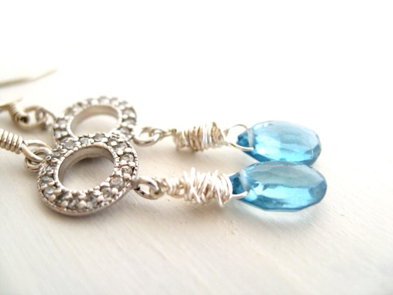 Pale Blue Topaz Earrings December Birthstone Sterling silver earrings by Vitrine