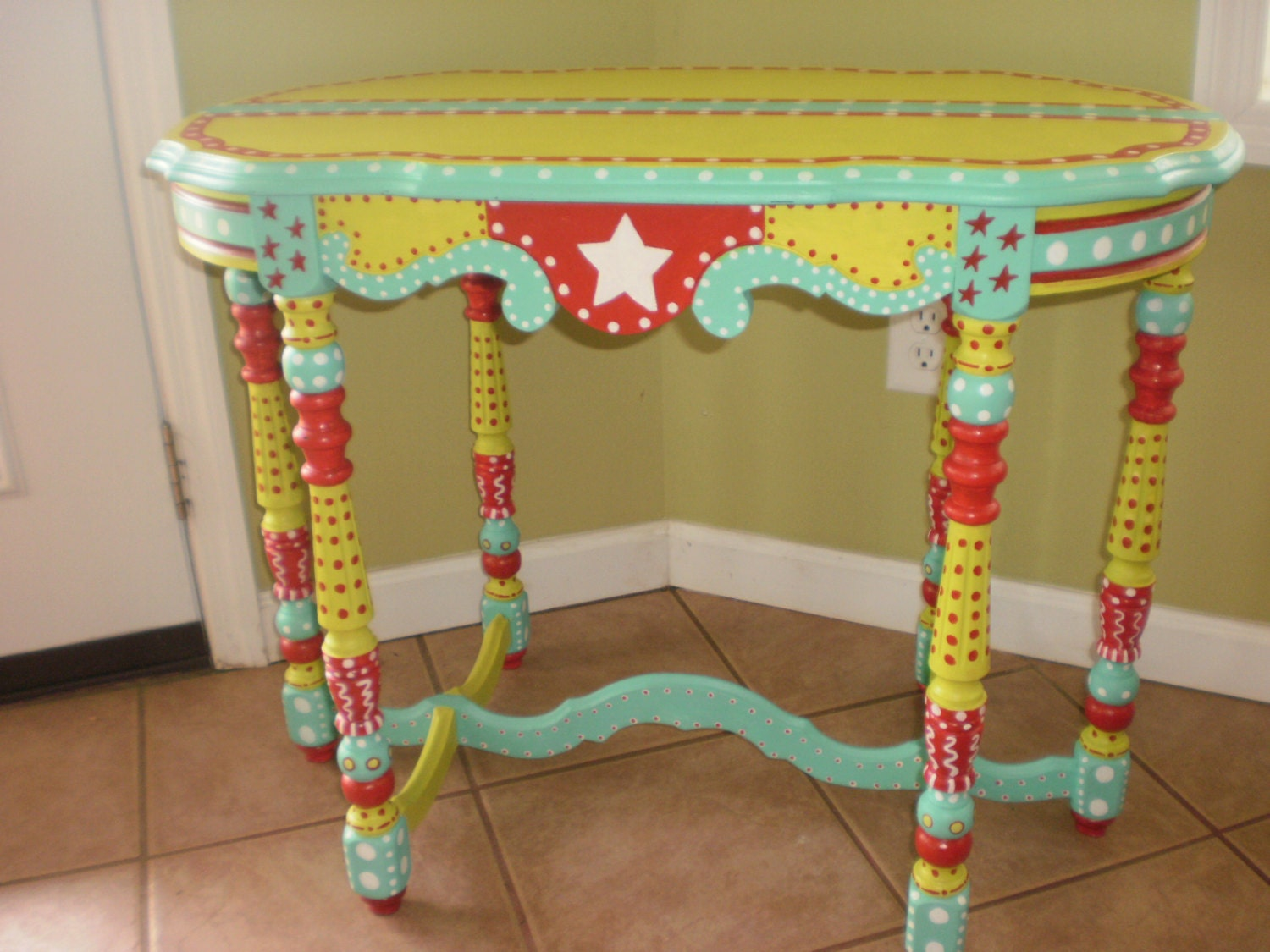 Hand Painted Whimsical Table Gypsy Folk Art Completely