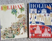 Holiday magazine 1948 2 issues Paris & Florida great color ads vintage travel