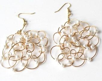 Boho Wire Wrapped Mini Pearl Earrings