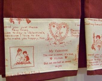 Valentine's Day Hand Towel Set Love Poems Vintage Print Retro Fabric set of 2 Kitchen Towels