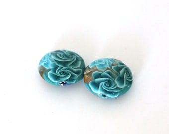 Polymer Clay Beads, Lentil Beads, Turquoise Bead Pair 893
