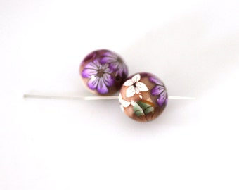 Polymer Clay Beads, Bead Pair, Wildflower Beads Purple Pink Flowers