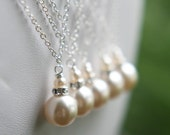 Simple Pearl Drop Necklace Bridal Party Gift The Chloe Necklace Choose Pearl Color FREE U.S.Shipping
