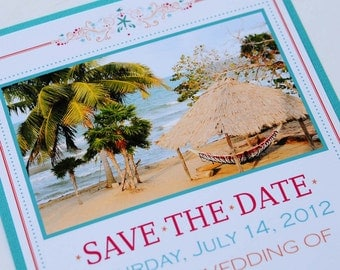 Tropical Beach Destination Wedding Save the Date - Belize Hopkins Beach