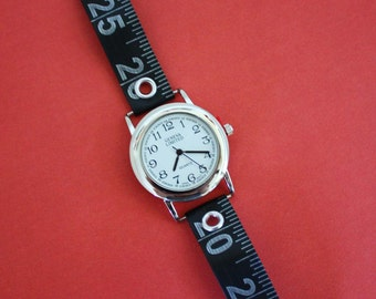 Tape Measure Watch in Black - Round Face - Statement Jewelry created with Upcycled Measuring Tape