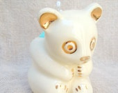 Vintage Bear with Gold Trim Planter remade into Pin Cushion