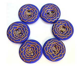 4 Vintage buttons plastic dark blue with gold color trim flower design 21mm
