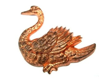 Vintage water bird metal stamping, findings made of copper