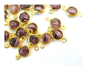 6 Vintage glass channel connectors beads red brown glass AUSTRIAN, might be Swarovski
