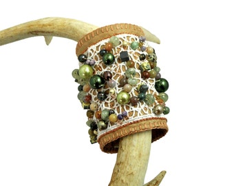 Cuff, Vegan Leather Cuff, Vegan Leather Jewelry, Fiber Jewelry, Beaded Cuff, OOAK, Bohemian, Spring, Rosalba Valentino Couture,