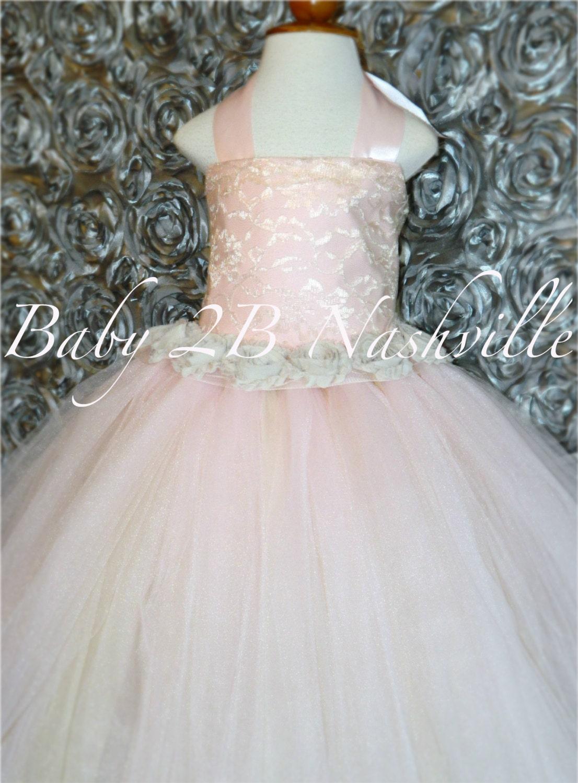 Blush Lace Flower Girl Dress Wedding Flower by Baby2BNashville