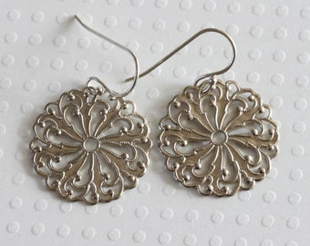 Silver Filigree Earrings Bohemian Earrings Filigree Dangle Earrings