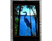 Blue Heron  woodblock print,Blue Heron Art , woodblock Heron, Original Heron  art,Susan Rothschild art, NW Blue Heron ,