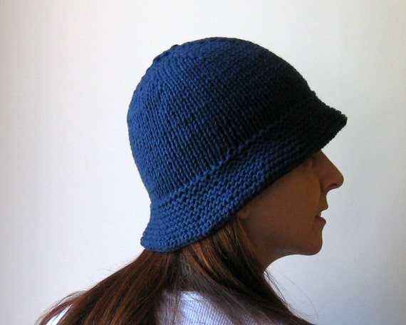Sailor Womens Summer Hat, Navy Blue, Cotton Knit, Cloche, Fashion Accessories, Hand Knitted, Cute, Gifts Under 40, Bucket Hat, SALE