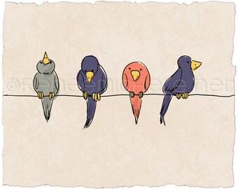 Birds on a Wire Fine Art Print
