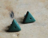 Tiny Triangle post earrings in Forest Green