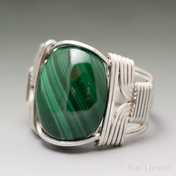 Malachite Cabochon Sterling Silver Wire Wrapped Ring - Made to Order & Ships Fast!