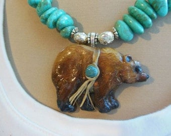 Grizzley Bear Totem Necklace, Pendant Handsculpted