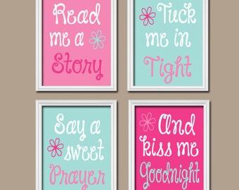 Kiss Me Goodnight Wall Art, Baby Girl Nursery Wall Art, Girl Bedroom Pictures, CANVAS or Prints Girl Nursery Artwork Set of 4